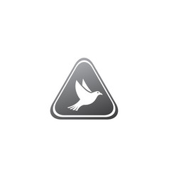 Bird or dove open wings and fly inside a circle vector