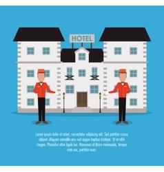 Building bellboy hotel service icon vector