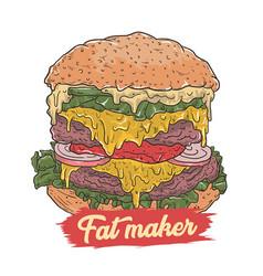 burger make fat vector image
