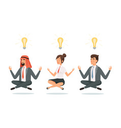 business people meditation relaxation vector image