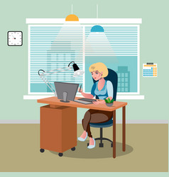 businessman working at his office desk vector image
