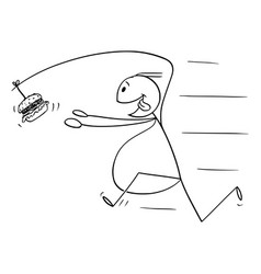 cartoon fat overweight man chasing unhealthy vector image