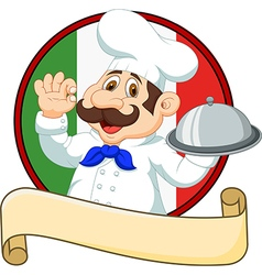 Cartoon funny Italian Chef cartoon holding platter vector image