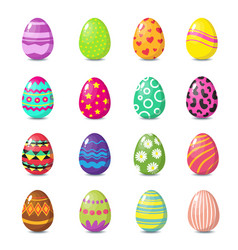 cartoon happy easter cute eggs set vector image