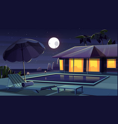 cartoon hotel at night tropical resort vector image