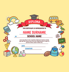 Cartoon school diploma vector
