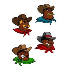 Cartoon western cowboys and sheriffs vector image
