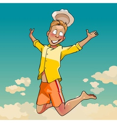 Cartoon young man in a hat joyously jumping vector