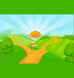 Choice between two roads vector