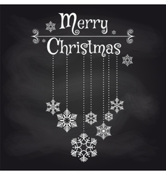 Christmas card with snowflakes on chalkboard vector