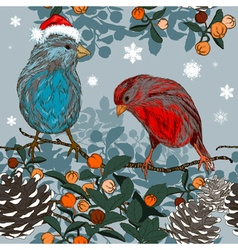 Christmas Hand Drawn Background with Winter Birds vector image