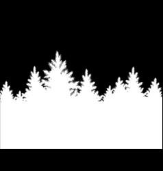 christmas landscape spruce forest silhouette vector image