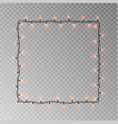 christmas lights square light string frame vector image