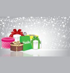 christmas presents and shopping bag vector image