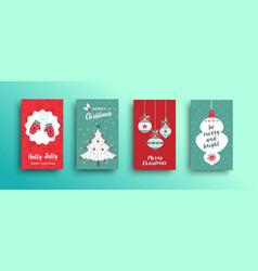 Christmas retro style cute greeting card set vector