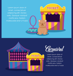 circus tent sale ticket with set icons vector image