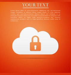 Cloud computing lock icon cloud protection icon vector