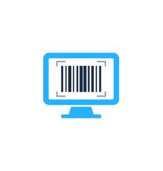 Computer barcode logo icon design vector