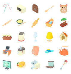 Convenience icons set cartoon style vector