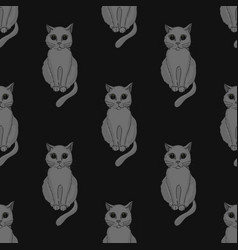 Cool cat seamless pattern vector