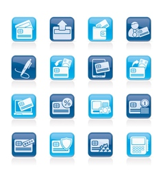 credit card POS terminal and ATM icons vector image