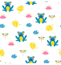 Cute blue frogs seamless pattern vector