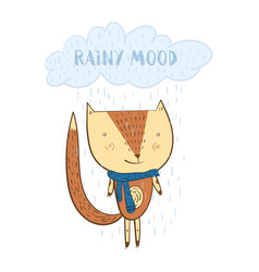 cute cartoon orange fox under the rainy cloud vector image