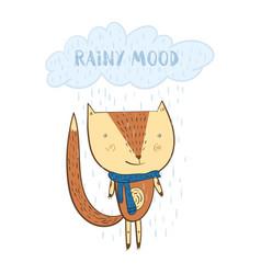 cute cartoon orange fox under the rainy cloud vector image