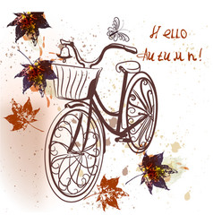 cute fake bicycle and maple leafs vector image