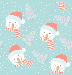 cute hand drawn seamless pattern with snowmen vector image