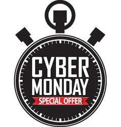 Cyber monday special offer stopwatch black icon vector image