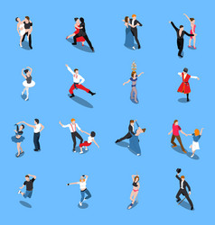 Dances professional performers isometric people vector