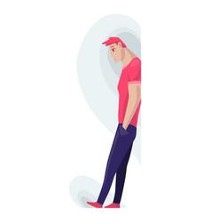 Depressed people sad boy standing lonely vector