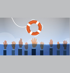 Drowning businessmen hands in water getting one vector