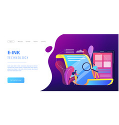 Electronic paper concept landing page vector