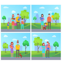 Family father and mother child vector