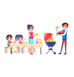 family picnic parents and kids vector image