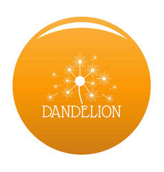 Fluffy dandelion logo icon orange vector