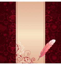 frame with hearts and feather vector image