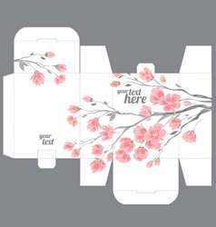 Gift wedding box template with nature pattern vector