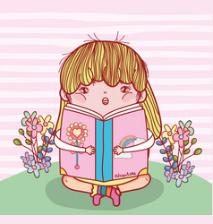 Girl read book literature with plants vector