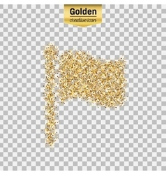 Gold glitter icon of flag isolated on vector