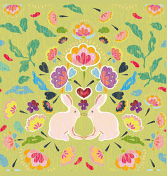green folk art pattern with bunny vector image