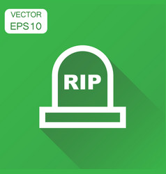 halloween grave icon business concept gravestone vector image