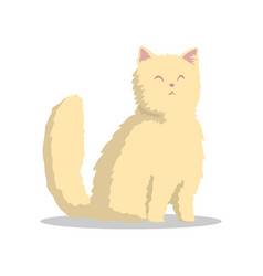 Hand drawn fluffy beige cat with pink ears and vector