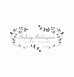 Hand drawn rustic floral logo template vector