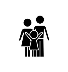 happy family black icon sign on isolated vector image