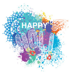 happy holi on colorful background vector image