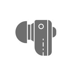 Hearing aid wireless headphones gray icon vector