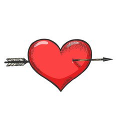 Heart symbol pierced with arrow sketch engraving vector